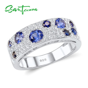 Silver Ring For Women  925 Sterling Silver Sparkling Blue Nano Cubic Zirconia