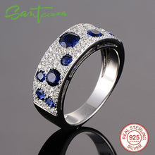 Load image into Gallery viewer, Silver Ring For Women  925 Sterling Silver Sparkling Blue Nano Cubic Zirconia