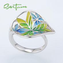 Load image into Gallery viewer, Silver Ring for Women Colourful Transparency  Enamel Leaf Ring White Cubic Zirconia
