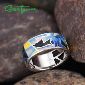 Silver Ring for Women 925 Sterling Silver Lord of the Ring Handmade Colourful Enamel