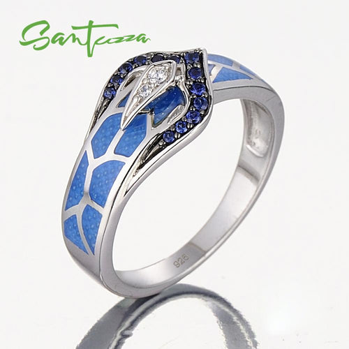 Silver Snake Ring for Women Blue Stone Blue Handmade Enamel  925 Sterling Silver