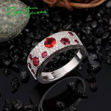 Load image into Gallery viewer, Silver Ring for Women Created Rubies White AAA Cubic Zirconia Stone