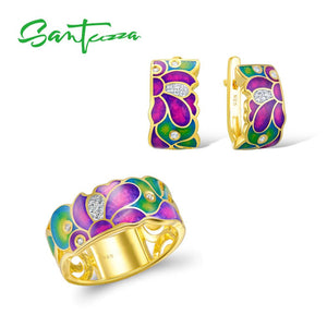 925 Sterling Silver Set with Handmade Colourful Enamel White CZ Stones Ring & Earrings