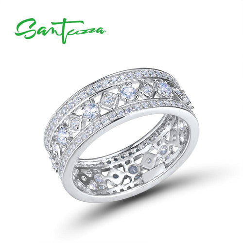 Silver Ring For Women 925 Sterling Silver Shiny Cubic Zirconia