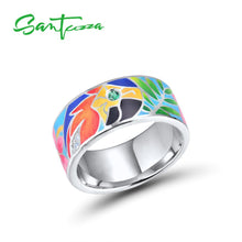 Load image into Gallery viewer, Silver Ring For Women 925 Sterling Silver White Cubic Zirconia Handmade Enamel