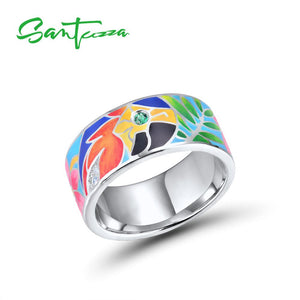 Silver Ring For Women 925 Sterling Silver White Cubic Zirconia Handmade Enamel