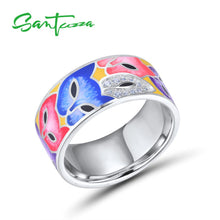 Load image into Gallery viewer, Jewellery Set For Women 925 Sterling Silver Handmade Colorful Enamel  White Cubic Zirconia Ring / Earrings Set