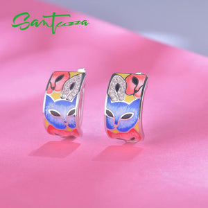 Jewellery Set For Women 925 Sterling Silver Handmade Colorful Enamel  White Cubic Zirconia Ring / Earrings Set