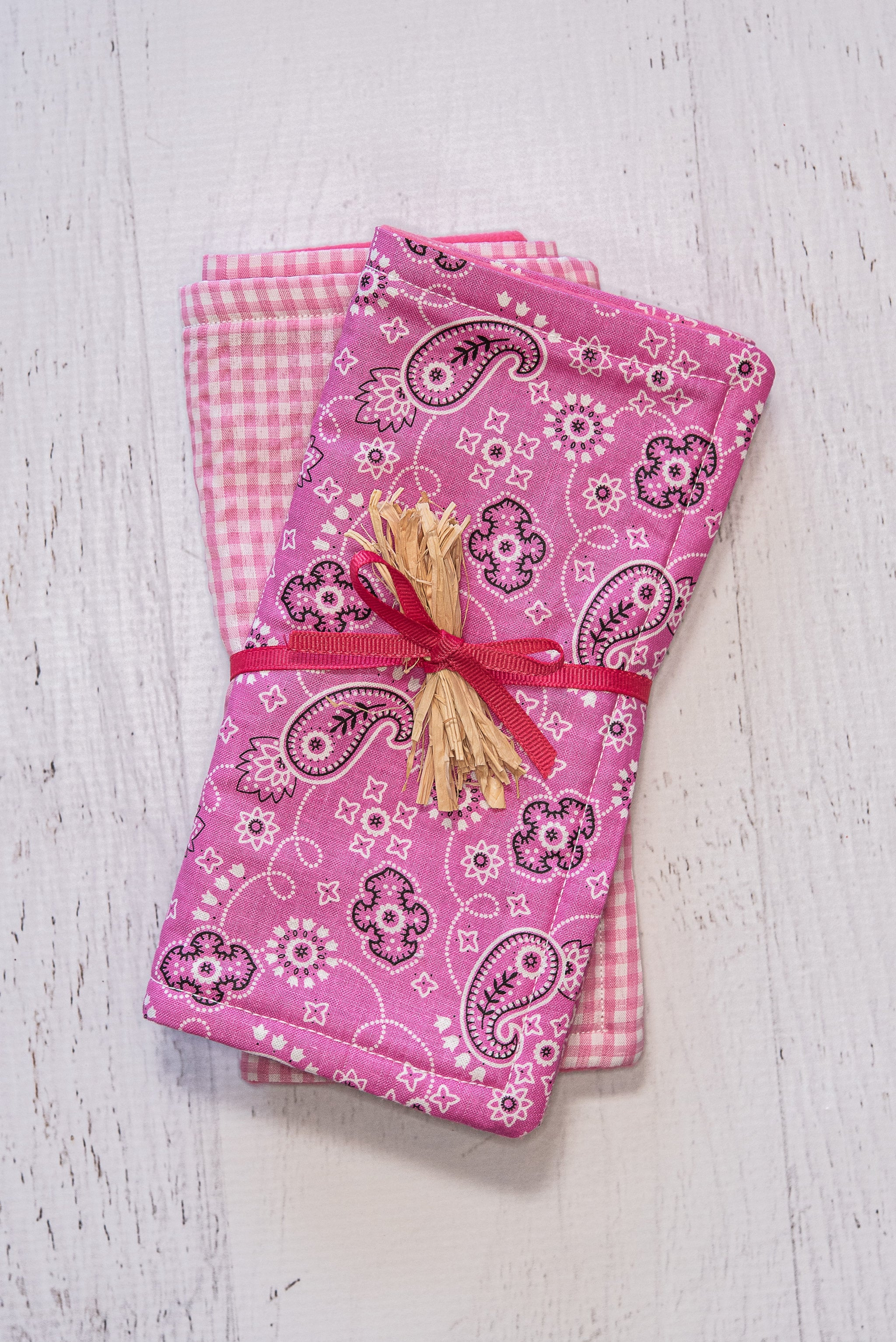 Pink Paisley and Gingham Burp Cloths