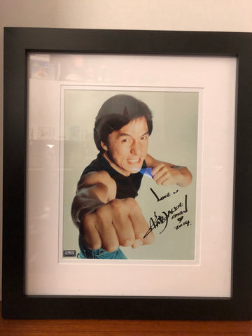 Action Kung Fu Star Jackie Chan Signed 8x10 framed photo.