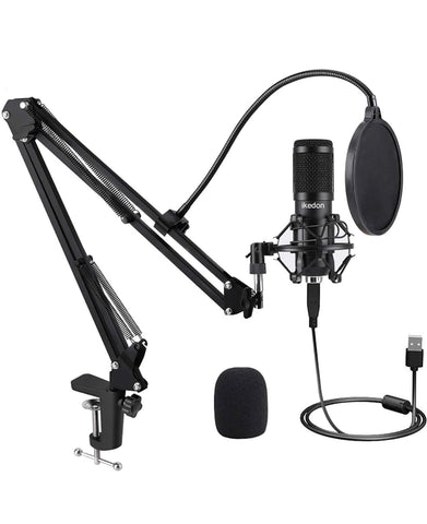 USB Condenser Microphone, IKEDON 192KHZ/24Bit Plug & Play PC Streaming Mic