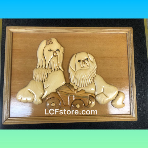 Shih Tzu Wood Carving 3D Photo