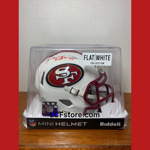 SF 49ers Star George Kittle Signed Flat White mini helmet