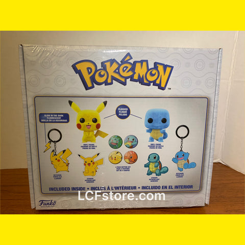 Flocked Pokémon Pikachu and Squirtle Gamestop Exclusive Funko POP set