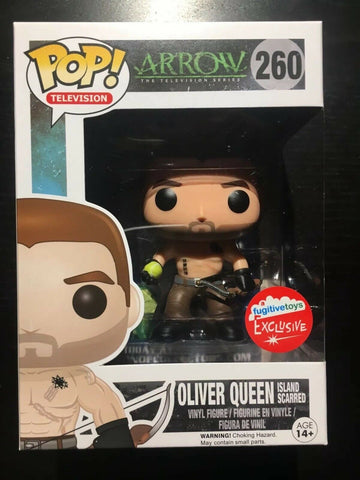 Funko Pop! DC Arrow Island Scarred Oliver Queen 260 Fugitive Toys Exclusive