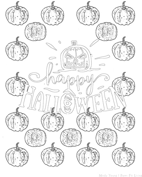 Happy Halloween Textured Coloring Sheet