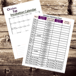 Chicken Egg Incubation Chart & Calendar Set