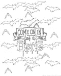 Come On In For A Bite Halloween Coloring Sheet {1 Page}