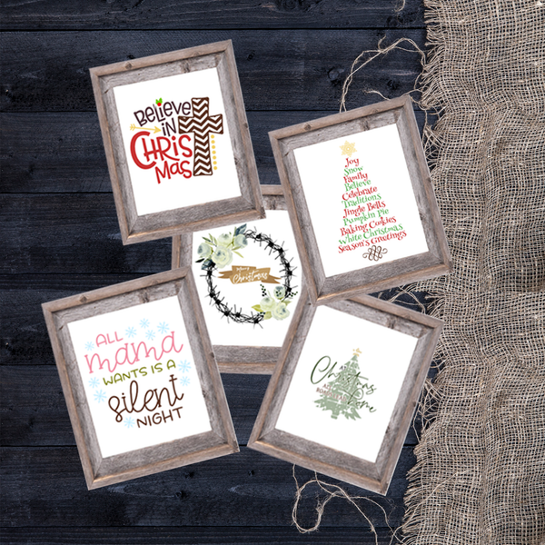 Rustic Farmhouse Christmas Printable Wall Hangings
