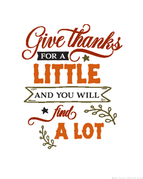 Give Thanks for a Little Printable {1-Page}