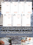 Simple Daily Printable Planner Pages {7 Pages}