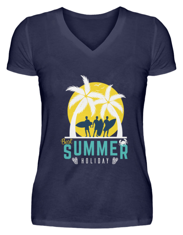 BEST SUMMER HOLIDAY  - V-Neck Damenshirt - Shirt Exklusive