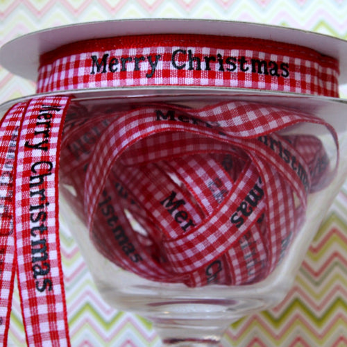Merry Christmas Gingham Ribbon