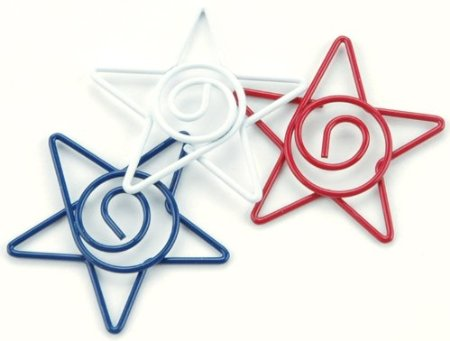 Star Spiral Clips - Red, White, Blue