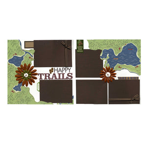 Happy Trails - Two Coordinating 12x12 Premade Scrapbook Pages
