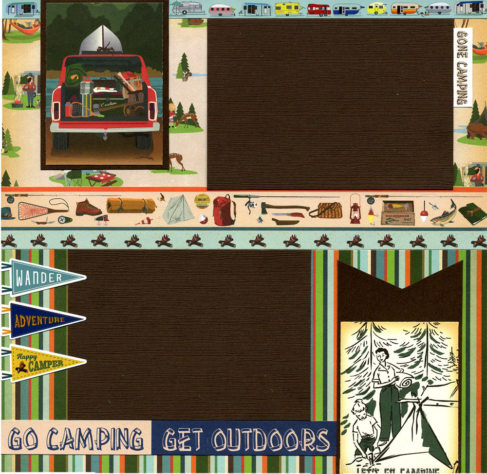 Let's Go Camping - Premade Scrapbook Page
