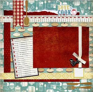 Love To Cook - 12x12 Premade Scrapbook Page