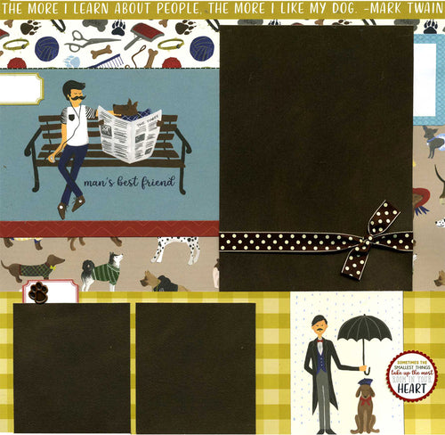 Man's Best Friend - 12x12 Premade Dog Scrapbook Page