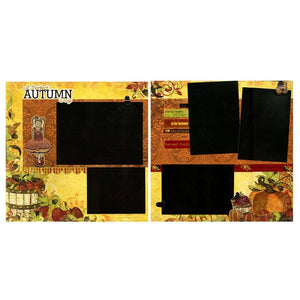 A Perfect Autumn Day - Two Coordinating12x12 Premade Scrapbook Pages