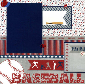 Play Ball - 12x12 Premade Baseball Scrapbook Page