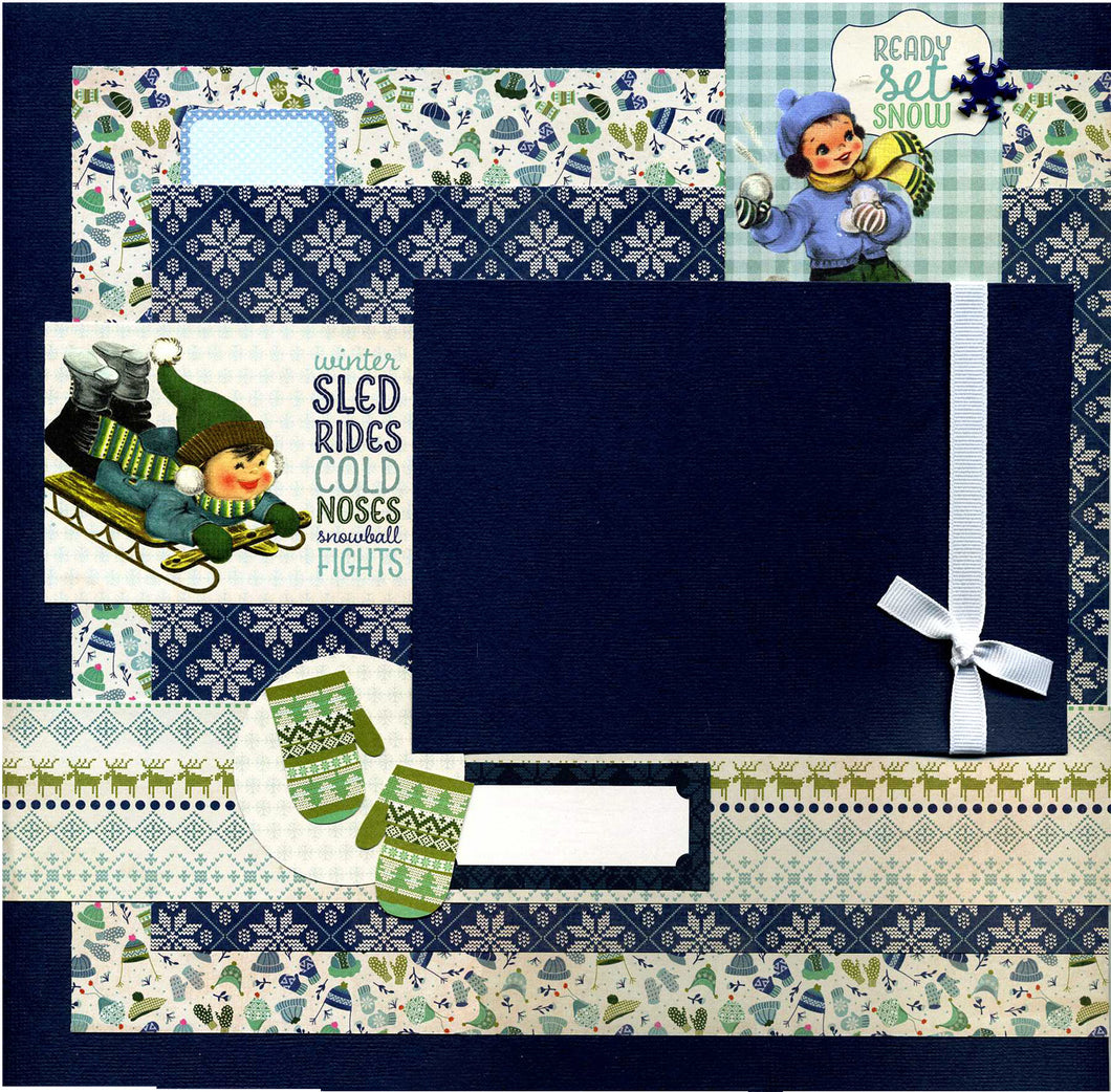 Ready Set Snow - 12x12 Premade Scrapbook Page