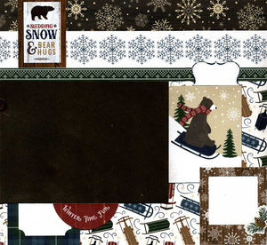 Sledding, Snow & Bear Hugs - 12x12 Premade Scrapbook Page