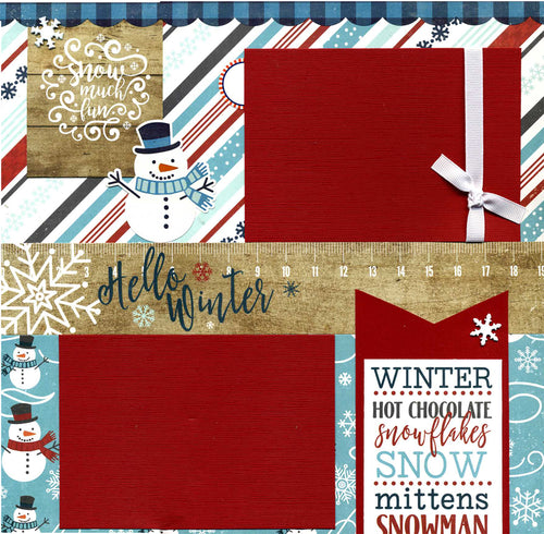 Snow Much Fun - Hello Winter - 12x12 Premade Scrapbook Page