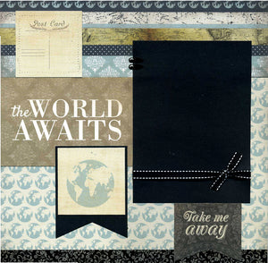 The World Awaits - Premade Scrapbook Page