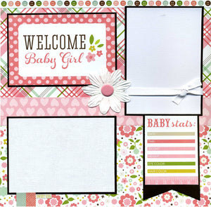 Welcome Baby Girl - 12x12 Premade Scrapbook Page