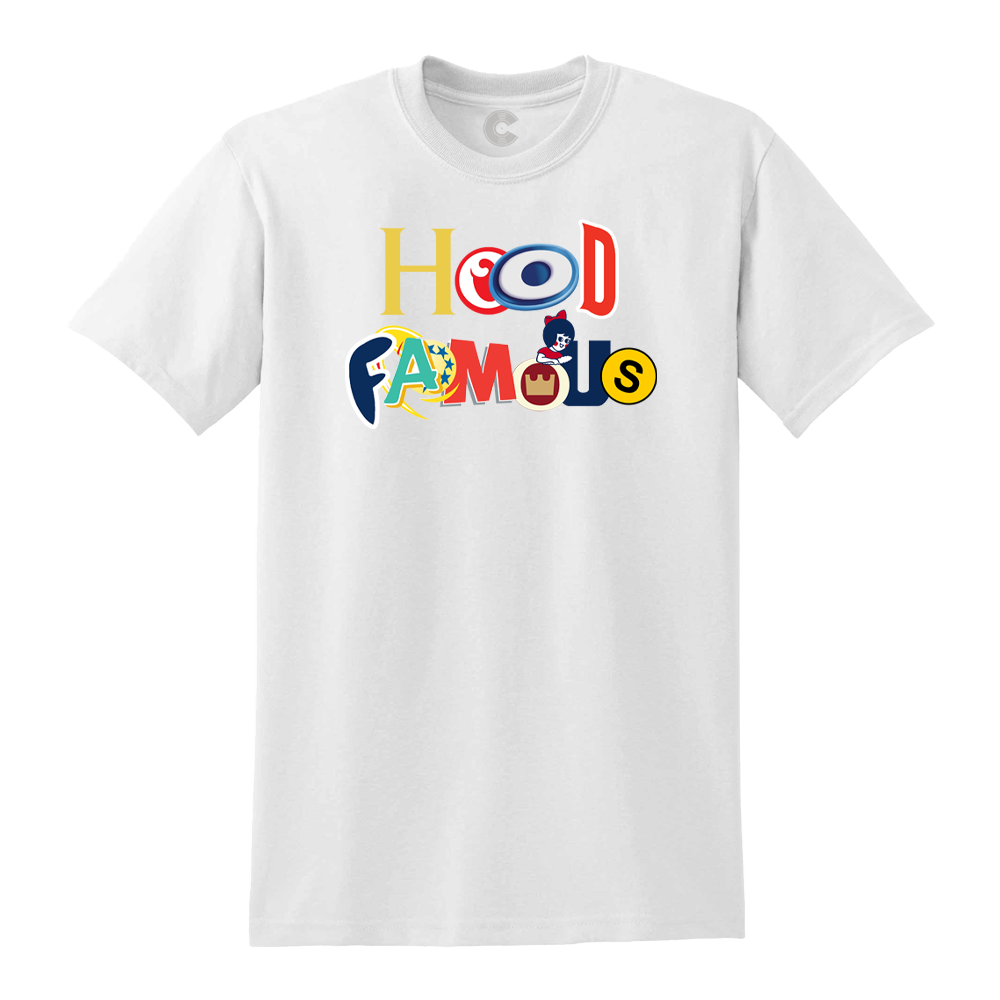 Hood Famous White Tee + Digital Album