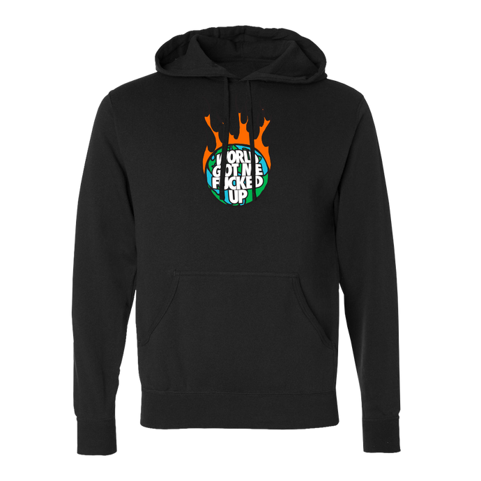 World On Fire Black Hoodie