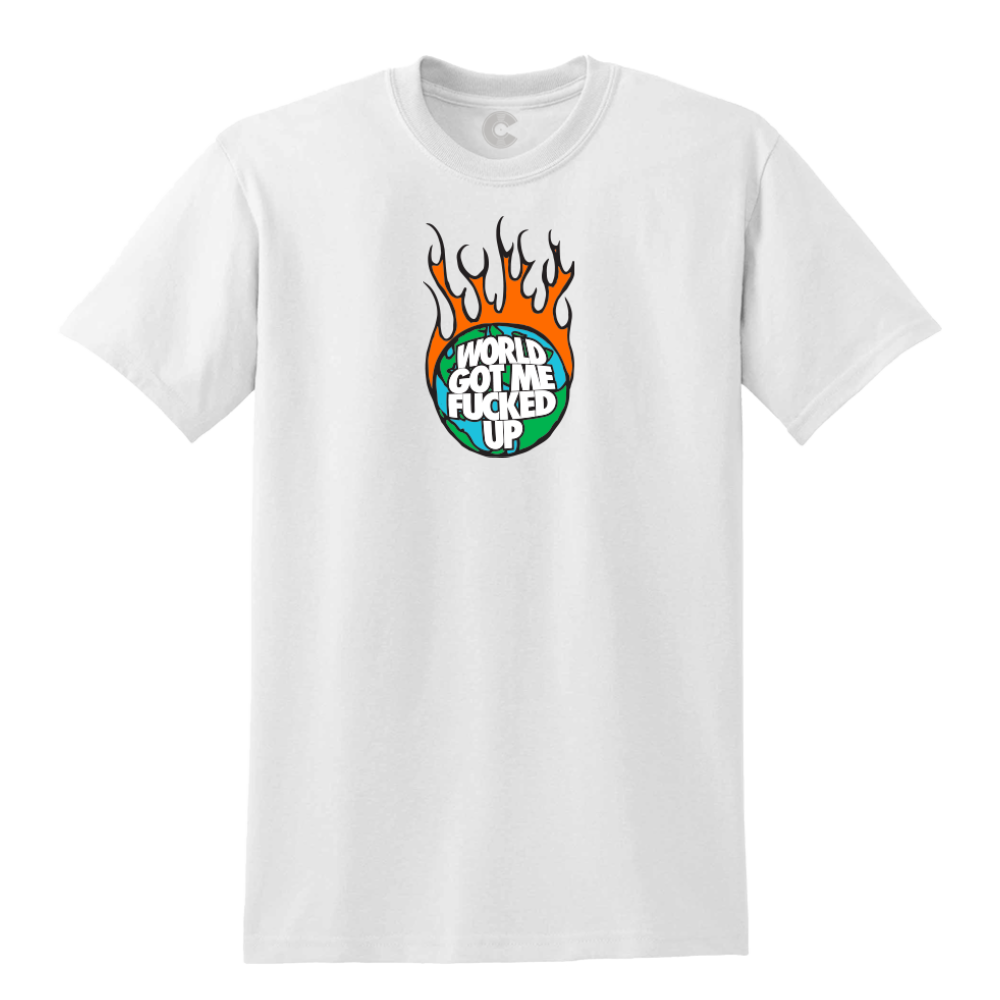 World On Fire White Tee + Digital Album