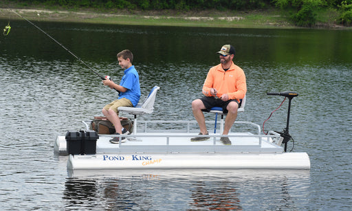 Father and Son Fishing from a Champ Two-man Pontoon Boat