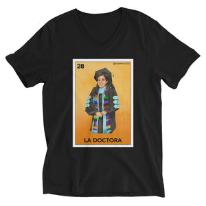 Academic Soul's La Doctora Lotería Unisex Short Sleeve V-Neck T-Shirt