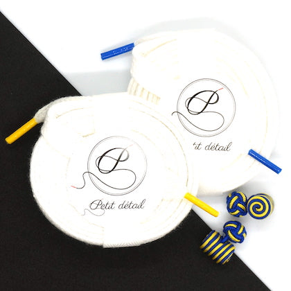 Set city Blanc & Jaune, Blanc & Bleu - Lacets Made in France - Petit-détail.ch