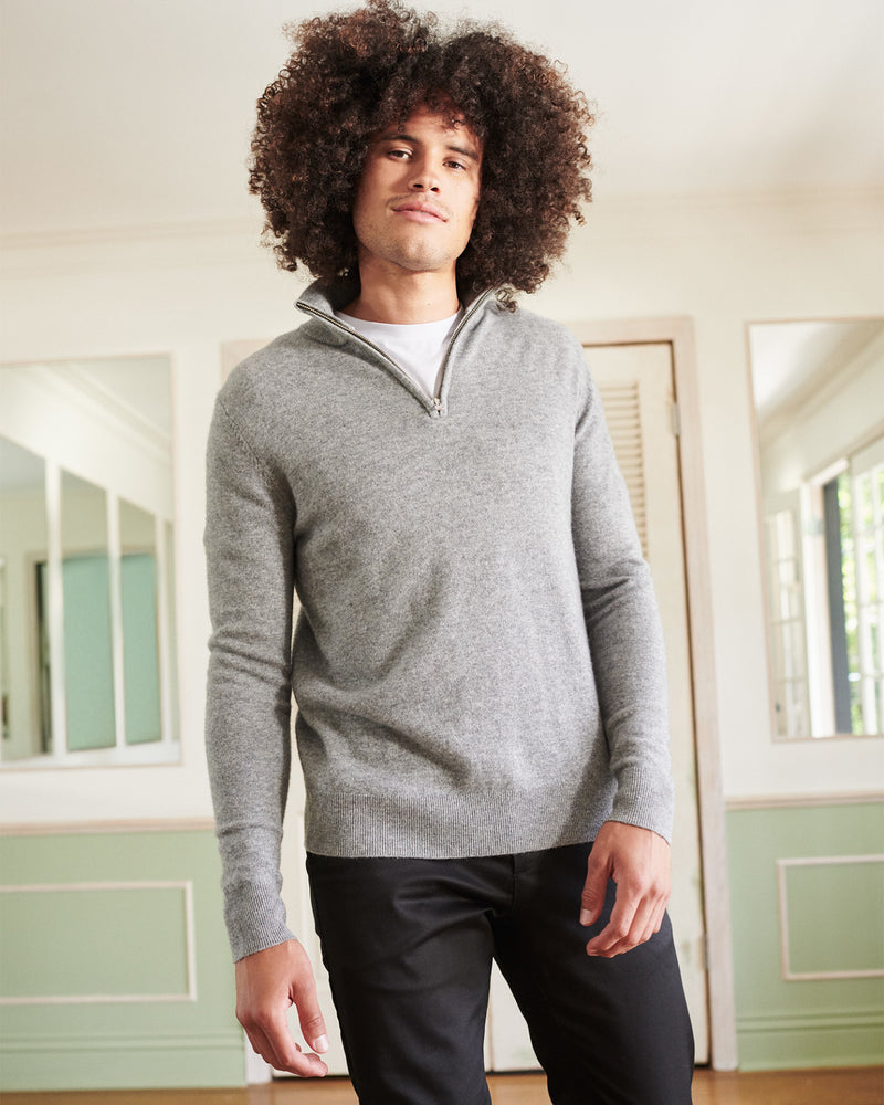 Mongolian Cashmere Quarter Zip Sweater
