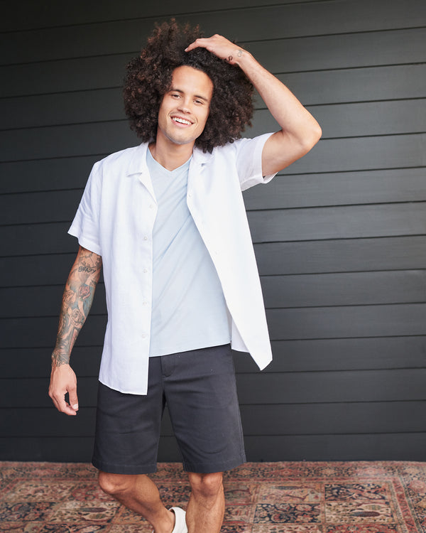 Short-Sleeve  French Linen Shirt (w/ WrinkleGuard)
