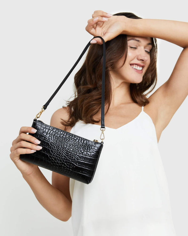 Italian Calfskin Croco Shoulder Bag