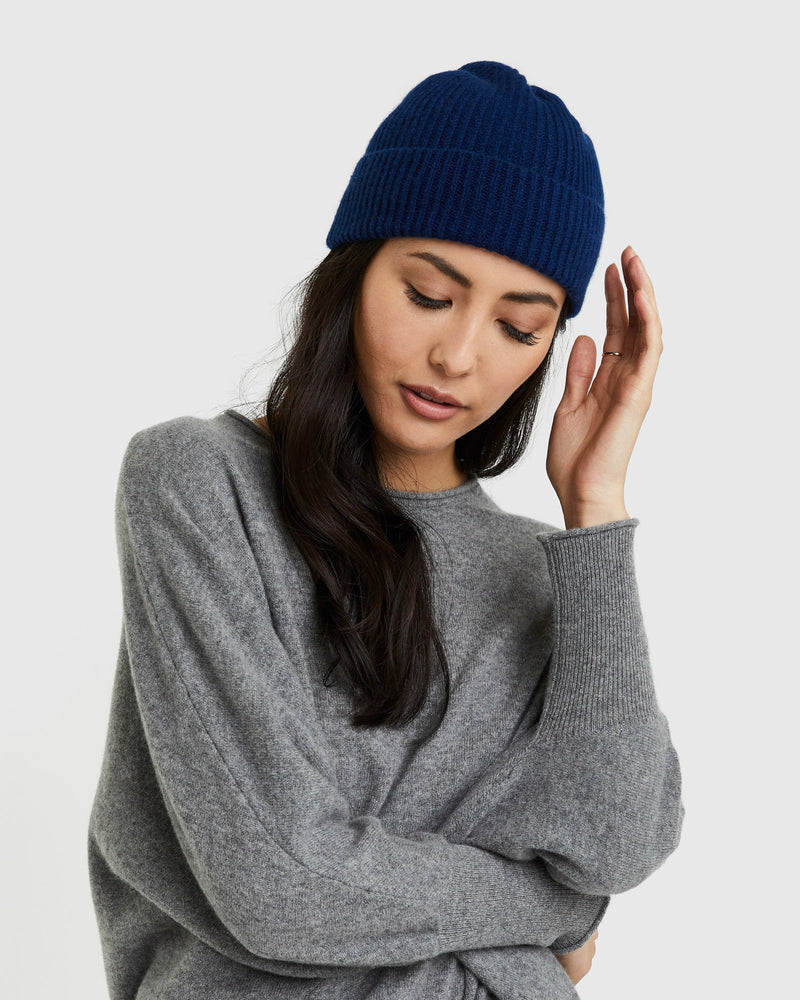 Mongolian Cashmere Ribbed Beanie