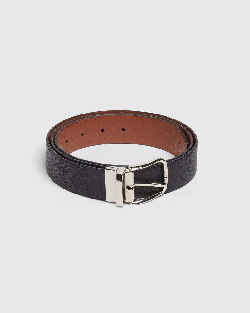 Reversible Italian Pebbled Leather Belt